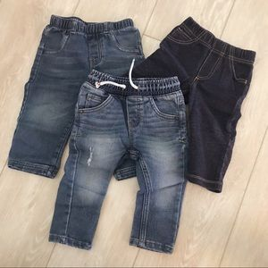 Set of 3 pull on jeans - size 12m